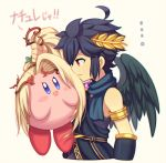 1boy 1other angel blonde_hair blue_eyes blush dark_pit flower hair_ornament hal_laboratory_inc. hoshi_no_kirby kid_icarus kid_icarus_uprising kirby kirby_(series) long_hair male_focus nachure nachure_(cosplay) nintendo ohmoto_makiko open_mouth palutena_no_kagami pink_puff_ball red_eyes seiyuu_joke side_ponytail smile sora_(company) super_smash_bros. super_smash_bros_brawl super_smash_bros_for_wii_u_and_3ds translated very_long_hair viridi viridi_(cosplay) wings wusagi2