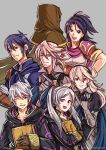 3girls 4boys armor blue_eyes blue_hair brother_and_sister cape cloak female_my_unit_(fire_emblem:_kakusei) female_my_unit_(fire_emblem:_shin_monshou_no_nazo) female_my_unit_(fire_emblem_if) fire_emblem fire_emblem:_kakusei fire_emblem:_rekka_no_ken fire_emblem_heroes fire_emblem_if genderswap grin gzei intelligent_systems kamui_(fire_emblem) kris_(fire_emblem) kris_(fire_emblem)_(female) kris_(fire_emblem)_(male) laughing light_smile looking_at_viewer male_my_unit_(fire_emblem:_kakusei) male_my_unit_(fire_emblem:_shin_monshou_no_nazo) male_my_unit_(fire_emblem_if) multiple_boys my_unit_(fire_emblem:_kakusei) my_unit_(fire_emblem:_shin_monshou_no_nazo) my_unit_(fire_emblem_if) nintendo parted_lips pointy_ears red_eyes reflet siblings silver_hair smile smirk super_smash_bros. tactician_(fire_emblem) teeth