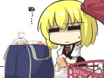 1girl :3 =_= bag black_skirt black_vest blonde_hair bread cake chibi comic commentary_request cosplay food gomasamune hair_ribbon highres holding holding_food necktie ribbon rumia shaded_face shirt shopping_bag shopping_basket short_hair short_sleeves skirt solo sweatdrop swiss_roll touhou translation_request vest white_background white_shirt