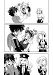 1boy 3koma 4girls angry blush boku_no_hero_academia breasts cleavage clenched_teeth comic greyscale half-closed_eyes hatsume_mei highres jealous kemii_(boku_no_hero_academia) knife large_breasts midoriya_izuku monochrome multiple_girls open_mouth sad school_uniform surprised sweatdrop teeth toga_himiko uraraka_ochako wavy_mouth wide-eyed