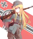 1girl :t absurdres belt blonde_hair blue_eyes blush bolt_action cowboy_shot explosive flag_background gloves grenade gun hand_in_pocket highres iron_cross mauser_98 nazi_war_ensign original pout rifle shiguru sniper_rifle solo stielhandgranate swastika weapon world_war_ii