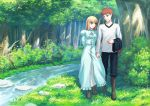 1boy 1girl :d blue_dress boots brown_boots brown_eyes commentary dress emiya_shirou fate/stay_night fate_(series) fateline_alpha grass green_eyes grin hand_holding long_sleeves open_mouth pants saber shirt smile stream tree
