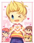 black_hair blonde_hair blue_eyes blush doubutsu_no_mori english hat heart kirby kirby_(series) link looking_at_viewer lucas male_focus mother_(game) mother_2 mother_3 multiple_boys ness one_eye_closed pointy_ears seiyuu_connection smile super_smash_bros. the_legend_of_zelda the_legend_of_zelda:_the_wind_waker toon_link villager_(doubutsu_no_mori) wusagi2