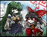 ! +++ 2girls ascot bangs black_border black_hair blue_skirt blunt_bangs blush_stickers border bow cup detached_sleeves drinking_glass eyebrows_visible_through_hair frog_hair_ornament gloves grass green_eyes green_hair hair_between_eyes hair_bow hair_ornament hair_tubes hakurei_reimu headband kochiya_sanae line_shading long_hair multiple_girls open_mouth pants red_bow red_eyes red_pants sidelocks skirt smile snake_hair_ornament spoken_exclamation_mark squatting suenari_(peace) sweat torii touhou tray very_long_hair white_skin wide_sleeves yellow_ascot
