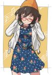 10s 1girl akiyama_yukari bangs beanie belt bespectacled blue_dress brown_eyes brown_hair casual cbgb closed_mouth collared_dress dress floral_print girls_und_panzer glasses hands_on_headphones hands_on_own_head hat headphones highres jacket long_sleeves looking_at_viewer medium_dress messy_hair musical_note one_eye_closed open_clothes open_jacket orange_hat polka_dot polka_dot_dress print_dress quaver red-framed_eyewear short_hair smile solo staff_(music) standing white_jacket yellow_background