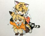 2girls :3 :o animal_ears animal_print ankle_boots black_gloves blazer blonde_hair blush boots bow bowtie breast_pocket brown_eyes brown_footwear chibi commentary_request extra_ears eyebrows_visible_through_hair ezo_red_fox_(kemono_friends) fox_ears fox_tail full_body fur-trimmed_sleeves fur_trim gloves gradient_legwear grey_background grey_boots hair_between_eyes hand_on_another's_arm hand_on_another's_shoulder highres holding_another's_arm horizontal_stripes jacket jitome kemono_friends light_brown_hair long_hair long_sleeves looking_at_viewer motion_lines multicolored multicolored_eyes multicolored_hair multiple_girls no_nose open_mouth orange_eyes orange_jacket orange_legwear pantyhose plaid plaid_skirt pleated_skirt pocket red_skirt shirokuma_(reirako-reirako) shirt short_sleeves skirt sleeve_cuffs squatting standing streaked_hair striped striped_legwear striped_tail sweat tail tiger_(kemono_friends) tiger_ears tiger_print tiger_tail traditional_media trembling tsurime white_bow white_bowtie white_hair white_shirt white_skirt yellow_legwear