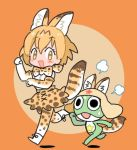1girl :3 :d =3 animal_ears animal_print ankle_boots bare_shoulders belt black_belt black_eyes black_ribbon blush_stickers boots bow bowtie brown_background chibi clenched_hands cosplay creator_connection cross-laced_clothes crossover elbow_gloves extra_ears eyebrows_visible_through_hair eyelashes full_body gloves hair_between_eyes high-waist_skirt katagiri_atsuko kemono_friends kemonomimi_mode keroro keroro_gunsou leg_lift looking_at_another looking_at_viewer looking_down multicolored multicolored_background no_nose open_mouth orange_background orange_eyes orange_hair paw_pose print_bow print_bowtie print_legwear print_skirt ribbon running serval_(kemono_friends) serval_(kemono_friends)_(cosplay) serval_ears serval_print serval_tail shadow shirt shoe_ribbon short_hair skirt sleeveless sleeveless_shirt smile striped_tail sweat tail tareme thigh-highs tired two-tone_background white_boots white_footwear white_shirt