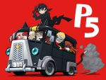 2boys 3girls animal_ears black_eyes black_hair blonde_hair blue_eyes brown_eyes brown_hair bus cat_ears cat_tail chibi copyright_name driving grin ground_vehicle gun handgun high_collar holding holding_gun holding_weapon kurusu_akira lipstick long_hair long_sleeves makeup mask morgana_(persona_5) motor_vehicle multiple_boys multiple_girls nekorin_(nekoforest) niijima_makoto persona persona_5 red_background red_eyes sakamoto_ryuuji sakura_futaba simple_background smile tail takamaki_anne vehicle weapon