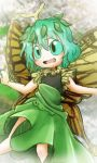 1girl antennae butterfly_wings chamaji commentary_request etarnity_larva eyebrows_visible_through_hair green_hair green_sclera hair_between_eyes leaf open_mouth outstretched_arms short_hair short_sleeves skirt solo spread_arms touhou wings