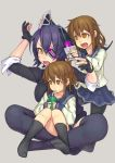 3girls black_legwear brown_eyes brown_hair commentary_request drinking eyepatch fang fingerless_gloves folded_ponytail gloves grey_background headgear ikazuchi_(kantai_collection) inazuma_(kantai_collection) indian_style kantai_collection kneehighs multiple_girls no_shoes open_mouth pantyhose purple_hair school_uniform serafuku short_hair simple_background sitting sitting_on_lap sitting_on_person skirt tenryuu_(kantai_collection) thigh-highs yellow_eyes yuuji_(and)