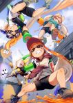 3girls action black_shoes blue_sky boots brown_shoes character_request clenched_teeth domino_mask green_boots holding holding_weapon ikamusume ink_tank_(splatoon) inkling long_hair mask multiple_girls navel orange_hair paint_splatter shoes sky splatoon super_soaker teeth tentacle_hair upshirt weapon