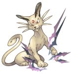 cat claws facing_viewer fangs fangs_out forehead_jewel no_humans paws pearl7 persian pokemon pokemon_(creature) pokemon_(game) pokemon_frlg pokemon_rgby red_eyes simple_background sitting solo tail whiskers white_background