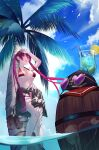 1girl arm_up arrow_through_heart barefoot barrel baseball_cap bikini black_jacket breasts clothes_around_waist clouds cup drinking_glass drinking_straw food fruit halterneck hat heterochromia highres holding holding_shoes hololive houshou_marine jacket jacket_around_waist large_breasts lemon lemon_slice palm_tree red_bikini red_eyes shoes sky skymax solo sunglasses swimsuit thigh_strap tongue tongue_out tree twintails under_boob virtual_youtuber water yellow_eyes