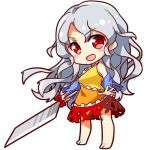 1girl bare_shoulders barefoot blouse blush_stickers breasts chibi cleaver detached_sleeves full_body hidden_star_in_four_seasons long_hair looking_at_viewer lowres open_mouth red_eyes renren_(ah_renren) sakata_nemuno silver_hair simple_background single_strap skirt solo touhou wavy_hair white_background