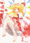 1girl ascot barefoot blonde_hair bloomers blush crystal fang feet flandre_scarlet graphite_(medium) happy hat hat_ribbon legs long_hair misawa_hiroshi mob_cap puffy_short_sleeves puffy_sleeves red_eyes ribbon short_sleeves side_ponytail skirt skirt_set solo texture toes touhou traditional_media underwear watercolor_(medium) wings