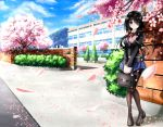 1girl absurdres black_hair blazer blue_sky blush brick_wall bush cherry_blossoms clouds condensation_trail date_a_live hair_over_one_eye highres jacket loafers mountain neck_ribbon pantyhose red_eyes ribbon school_briefcase school_uniform shoes skirt sky smile solo thighband_pantyhose tokisaki_kurumi tree tsubasaki