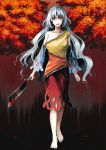 1girl autumn_leaves barefoot blood bloody_weapon blouse breasts cleaver clenched_hand detached_sleeves hidden_star_in_four_seasons highres large_breasts long_hair looking_at_viewer open_mouth red_eyes sakata_nemuno silver_hair single_strap skirt smile solo touhou tree wavy_hair weapon zioase