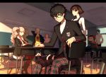 3boys 4girls ;) arm_rest arm_up black_eyes black_hair blonde_hair blue_eyes boots braid brown_hair cat chair chalkboard classroom closed_eyes desk finger_to_mouth glasses hand_up high_collar hood hood_down hoodie indoors jacket kitagawa_yuusuke kurusu_akira letterboxed long_hair long_sleeves looking_at_another looking_at_viewer mask morgana_(persona_5) multiple_boys multiple_girls nekorin_(nekoforest) niijima_makoto nose_bubble okumura_haru one_eye_closed open_mouth pants parted_lips persona persona_5 red_eyes red_legwear sakamoto_ryuuji sakura_futaba school school_desk school_uniform shirt short_hair shushing sitting sleeping sleeves_rolled_up smile standing sweater t-shirt takamaki_anne turtleneck twintails yawning