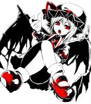 >:o 1girl :o alternate_wings ascot bangs black_wings blood blood_in_mouth blood_on_face bobby_socks bow brooch collared_shirt convenient_leg demon_wings eyebrows_visible_through_hair facing_viewer fang frilled_skirt frilled_sleeves frills from_below hair_between_eyes hat hat_ribbon jewelry legs legs_crossed looking_away looking_down looking_to_the_side mary_janes miniskirt mob_cap open_mouth puffy_short_sleeves puffy_sleeves red_bow red_eyes red_ribbon red_shoes remilia_scarlet ribbon ringed_eyes shiori_(moechin) shirt shoes short_hair short_sleeves simple_background sitting skirt skirt_set socks solo spikes spot_color straight_hair teeth tongue torn_wings touhou uneven_eyes vampire white_background wings wristband