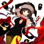 1girl bird black_dress black_gloves black_hair blurry blush_stickers bow bowtie breasts depth_of_field dress elbow_gloves embarrassed fur-trimmed_gloves fur_collar fur_trim gloves green_eyes hand_on_head hat highres jun_(seojh1029) large_breasts long_hair looking_at_viewer penguin red_bow red_bowtie red_ribbon ribbon santa_hat short_dress simple_background snowman solo tied_hair twintails white_background yellow_legwear