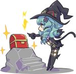 1girl artist_request black_boots black_gloves black_hat boots cat_tail elbow_gloves fiore_brunelli full_body gloves green_eyes green_hair hat knee_boots long_hair official_art pointing profile ringlets smile solo standing star_ocean star_ocean_integrity_and_faithlessness tail treasure_chest witch_hat