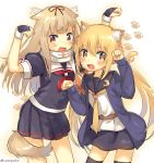 2girls :3 :d absurdres animal_ears black_serafuku blonde_hair commentary_request crescent fang fingerless_gloves gloves hair_flaps hair_ornament hair_ribbon highres kantai_collection kemonomimi_mode long_hair long_sleeves low_twintails multiple_girls neckerchief open_mouth paw_print pleated_skirt remodel_(kantai_collection) ribbon satsuki_(kantai_collection) scarf school_uniform serafuku skirt smile tail thigh-highs twintails twitter_username white_scarf yellow_eyes yuudachi_(kantai_collection) zettai_ryouiki zuho_(vega)