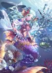 air_bubble aqua_hair blue_eyes bracelet breasts coral coral_hairpin fish head_fins highres holding holding_staff jewelry long_hair looking_at_viewer medium_breasts mermaid midriff monster_girl navel ocean original parted_lips school_of_fish seashell see-through shark shell shente_(sharkpunk) smile staff starfish_hair_ornament under_boob underwater