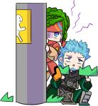 1boy 1girl anne_petriceani artist_request beard blue_eyes blue_hair braid chestnut_mouth crown_braid emmerson_t_kenny facial_hair green_hair headband hiding jitome kneeling multicolored multicolored_eyes no_nose official_art red_headband robe short_hair spiky_hair star_ocean star_ocean_integrity_and_faithlessness violet_eyes