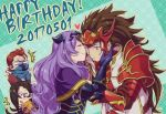 2boys 2girls armor blush brown_hair camilla_(fire_emblem_if) cheek_kiss circlet crossed_arms dated fire_emblem fire_emblem_if gloves hair_over_one_eye happy_birthday heart hetero hiyori_(rindou66) kagerou_(fire_emblem_if) kiss long_hair looking_down mask multiple_boys multiple_girls one_eye_closed open_mouth patterned_background purple_hair red_eyes red_gloves redhead ryouma_(fire_emblem_if) saizou_(fire_emblem_if) scar scarf surprised teal_background torn_clothes violet_eyes wavy_hair