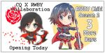 1girl black_hair cape chibi commentary_request crescent_rose crusaders_quest english grey_eyes guitar highres iesupa instrument multicolored_hair petals pixelated red_cape redhead ruby_rose rwby rwby_chibi smile solo