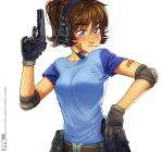 1girl bandaid bandaid_on_arm bandaid_on_face belt belt_pouch black_gloves blue_eyes blush breasts brooke_(mleth) brown_hair cz-75 ear_protection elbow_pads eyebrows_visible_through_hair freckles gloves gun handgun headset highres long_hair magazine_(weapon) mleth original pistol ponytail raglan_sleeves revision shirt small_breasts solo t-shirt trigger_discipline weapon white_background