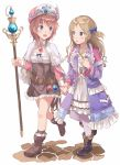 2girls :d atelier_(series) atelier_rorona bangs belt black_boots blonde_hair blue_bow blue_eyes blush boots bow brown_boots brown_hair brown_skirt coat cuderia_von_feuerbach dress eyebrows_visible_through_hair gem hair_bow hand_holding hat high-waist_skirt highres holding holding_staff jewelry leg_up long_hair looking_at_another machikado multiple_girls open_clothes open_coat open_mouth pantyhose parted_bangs pendant rororina_fryxell skirt smile staff two_side_up walking white_background white_dress white_legwear