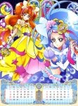 2016 2girls absurdres amanogawa_kirara arm_warmers artist_request blue_dress blue_eyes blue_hair brown_hair calendar cure_mermaid cure_twinkle dress earrings gloves go!_princess_precure highres jewelry june kaidou_minami light_particles long_hair looking_at_viewer low-tied_long_hair magical_girl may midriff mode_elegant_(go!_princess_precure) multicolored_hair multiple_girls official_art precure purple_hair quad_tails redhead star star_earrings streaked_hair twintails two-tone_hair violet_eyes wand white_gloves yellow_dress
