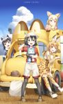 4girls :d animal_ears backpack backpack_removed bag bare_shoulders beige_shorts black_gloves black_hair black_legwear blonde_hair blue_eyes blue_shirt blush boots bow bowtie brown_eyes brown_shoes bucket_hat chin_rest clenched_hand clouds collarbone common_raccoon_(kemono_friends) copyright_name day elbow_gloves fennec_(kemono_friends) fox_ears full_body gloves grass hair_between_eyes hand_on_own_thigh hat hat_feather head_tilt high-waist_skirt highres holding japari_bus kaban_(kemono_friends) kemono_friends legs_apart light_smile looking_at_viewer lucky_beast_(kemono_friends) multicolored_hair multiple_girls open_mouth outdoors pantyhose paw_pose pink_sweater raccoon_ears raised_fist red_shirt romaji serval_(kemono_friends) serval_ears serval_print shadow shirt shoes short_hair short_sleeves silver_hair skirt sky sleeveless sleeveless_shirt smile standing sweater thigh-highs two-tone_hair white_boots white_hair white_shirt yellow_bow yellow_bowtie yuuri_nayuta