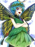 1girl blue_hair butterfly_wings commentary_request cowboy_shot crossed_arms etarnity_larva facial_tattoo fangs hidden_star_in_four_seasons horns leaf_wreath looking_at_viewer one_eye_closed open_mouth ryuuichi_(f_dragon) shadow shirt short_hair skirt sleeveless sleeveless_shirt smile solo tattoo touhou violet_eyes wings