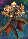 1girl adsoutoart amputee blonde_hair boots gauntlets gloves grin highres long_hair looking_at_viewer rwby smile solo weapon yang_xiao_long