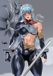 1girl abs armor blue_hair blush bodysuit bowalia breasts clenched_hand covered_navel cowboy_shot fingerless_gloves gloves long_hair needle open_mouth original restraints scarf simple_background steam tape thigh_gap toned torn_clothes violet_eyes