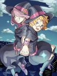 2girls belt blue_eyes boots cityscape clouds cloudy_sky cuffs dress freckles glasses grin hair_over_one_eye hairband handcuffs hat little_witch_academia long_hair looking_at_viewer lotte_jansson multiple_girls open_mouth orange_hair pale_skin red_eyes sharp_teeth short_hair sky skyline smile sucy_manbavaran teeth witch witch_hat