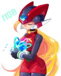 1girl android blonde_hair breasts closed_eyes gem genderswap genderswap_(mtf) gloves helmet hug long_hair midnight_bliss rockman rockman_zero skirt yuriyuri_(ccc) zero_(rockman)