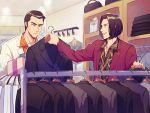 2boys black_hair clothes formal kiryuu_kazuma male_focus mino_(mino_cat) multiple_boys nishikiyama_akira ryuu_ga_gotoku shopping suit