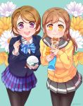 2girls :d aqua_background bangs black_legwear blazer blue_bow blue_bowtie bow bowl bowtie bread brown_hair cardigan commentary_request dodapan eating floral_background food food_on_face highres holding holding_bowl holding_food jacket koizumi_hanayo kunikida_hanamaru long_hair long_sleeves looking_at_viewer love_live! love_live!_school_idol_project love_live!_sunshine!! miniskirt multiple_girls open_mouth pantyhose pleated_skirt rice rice_bowl rice_on_face school_uniform serafuku short_hair skirt smile sparkling_eyes striped striped_bow striped_bowtie twitter_username violet_eyes yellow_bow yellow_bowtie yellow_eyes