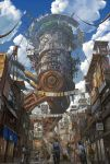 blue_sky city clouds cloudy_sky fantasy mecha noba scenery science_fiction sky water_tower