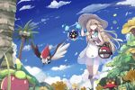 >:( :d alolan_exeggutor araragimura_udonya arm_up bag bangs bare_arms bare_shoulders blonde_hair blue_eyes blue_sky blunt_bangs boots bounsweet braid closed_mouth commentary_request cosmog day dress duffel_bag fangs field floating floating_hair flower flower_field glowing green_eyes hand_on_headwear hat knee_boots lillie_(pokemon) litten open_mouth outdoors palm_tree petals pikipek plant pokemon pokemon_(game) pokemon_sm see-through shaded_face shoulder_bag sky sleeveless sleeveless_dress smile sundress thigh_gap tree twin_braids walking white_boots white_dress white_hat wind yellow_eyes yellow_sclera