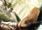 1girl blonde_hair blue_eyes boots canegouzi christa_renz crying forest highres knee_boots long_hair moss mushroom nature pants shingeki_no_kyojin solo sword torn_clothes weapon