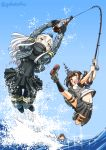 3girls alternate_hair_color black_legwear blue_eyes blue_sky bottle brown_hair commentary_request covered_navel cropped_jacket day fishing fishing_line fishing_rod fubuki_(kantai_collection) garrison_cap green_eyes hair_ornament hairclip hat highres holding holding_fishing_rod i-401_(kantai_collection) jumping kantai_collection kneehighs long_hair long_sleeves looking_at_viewer low_ponytail machinery midriff military military_uniform multiple_girls navel ocean open_mouth outstretched_leg pantyhose parody pleated_skirt ponytail puffy_long_sleeves puffy_sleeves remodel_(kantai_collection) school_uniform serafuku short_ponytail short_sleeves skirt sky sogabe_toshinori sparkle thigh-highs tsurikichi_sanpei twitter_username u-511_(kantai_collection) uniform water white_hair