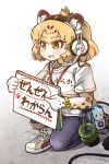 1girl bag blonde_hair blue_pants blush breasts brown_eyes clothes_writing eyebrows_visible_through_hair headset holding jaguar_(kemono_friends) jaguar_ears jaguar_print jaguar_tail kemono_friends medium_breasts one_knee open_mouth pants paw_print pointing shirt shoes short_sleeves sketchbook sneakers solo tail tanaka_kusao tape translated twitter_username white_background white_shirt white_shoes