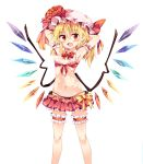 1girl arm_garter armpits arms_behind_head bikini black_bikini black_bikini_bottom blonde_hair blush bow bowtie breasts detached_collar fang flandre_scarlet flower frilled_bikini frills front-tie_top hair_between_eyes hat hat_flower hat_ribbon highres leg_garter looking_at_viewer maturiuta_sorato medium_breasts mob_cap navel open_mouth pointy_ears red_bikini red_bikini_top red_bow red_bowtie red_eyes red_ribbon ribbon side-tie_bikini simple_background smile solo standing stomach swimsuit touhou white_background wings yellow_bow