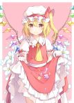 1girl 6u_(eternal_land) ascot asymmetrical_hair bangs blonde_hair blush commentary_request cowboy_shot crystal demon_wings flandre_scarlet flower frilled_shirt_collar frilled_sleeves frills gloves hat hat_ribbon long_skirt looking_at_viewer mob_cap one_side_up petals petticoat pink_background puffy_short_sleeves puffy_sleeves red_eyes red_ribbon red_skirt red_vest ribbon shiny shiny_hair short_sleeves simple_background skirt skirt_basket skirt_hold solo standing tareme touhou vest white_gloves white_hat wings