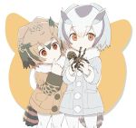 2girls animal blonde_hair blush brown_coat brown_eyes brown_hair buttons child coat dot_nose eating eurasian_eagle_owl_(kemono_friends) eyebrows eyebrows_visible_through_hair eyelashes finger_to_mouth fur_collar grey_coat grey_hair grey_legwear hair_between_eyes holding holding_animal index_finger_raised japari_symbol kemono_friends large_buttons long_sleeves looking_at_another looking_at_viewer multicolored_hair multiple_girls northern_white-faced_owl_(kemono_friends) pantyhose pocket samidare short_hair sleeve_cuffs spider tail tareme white_background