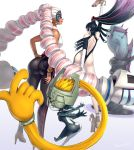 3girls arms_(game) ass bare_back bare_shoulders bayonetta bayonetta_(character) black_hair blonde_hair blue_background breasts drill_hair earrings elbow_gloves fang gloves gonzarez gradient gradient_background green_eyes gun handgun high_heels highres jewelry long_hair looking_at_viewer looking_back midna multicolored_hair multiple_girls pink_hair pistol prehensile_hair smile the_legend_of_zelda the_legend_of_zelda:_twilight_princess twin_drills twintelle_(arms) very_long_hair weapon white_background white_gloves